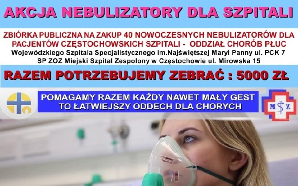 Zbiórka 40 Nebulizatorów Dla Szpitali - zdjęcie główne